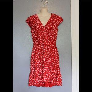 J Crew Mercantile Red Faux Wrap Floral Dress 2